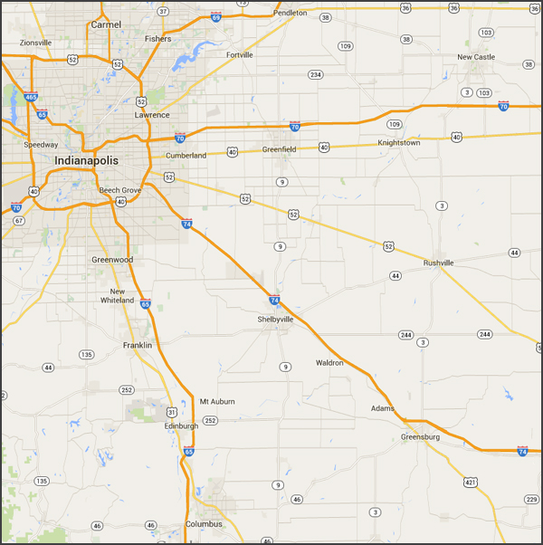 Indiana Service Area Map